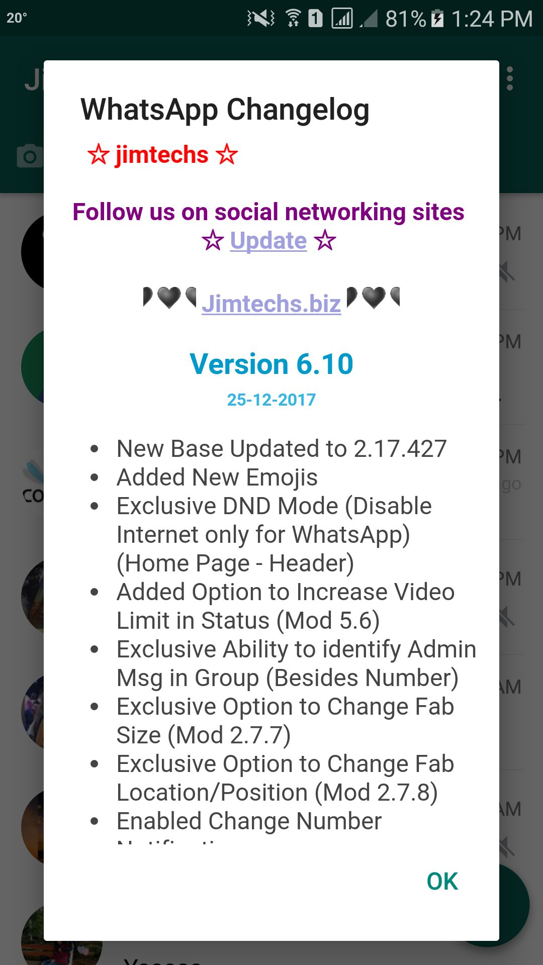 WhatsApp plus JiMODs v6.10 Jimtechs Editions